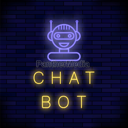 neon chat bot artificial intelligence concept