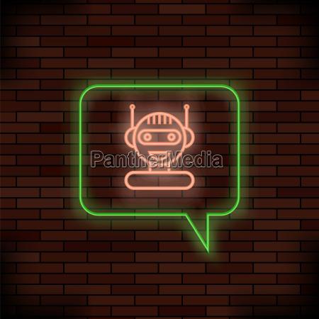 neon chat bot on brick background