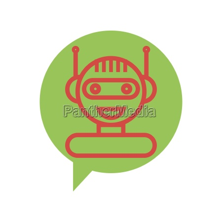 red line chat bot icon on