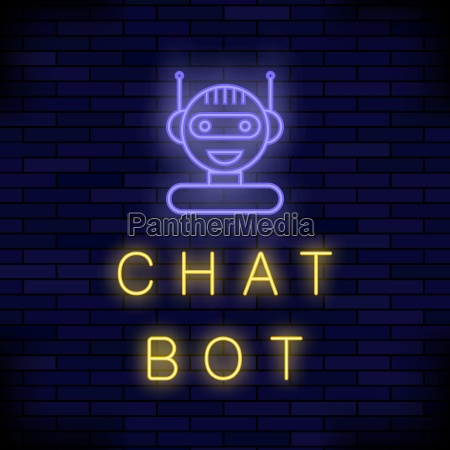 neon chat bot on blue brick