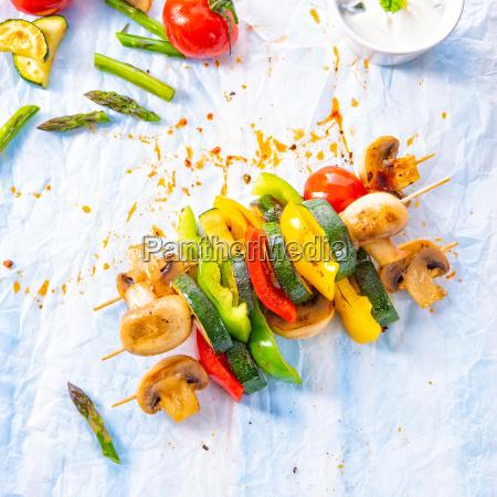 vegetarian skewers white mushrooms peppers and