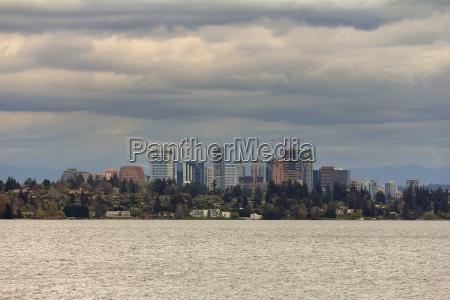 bellevue skyline along lake washington