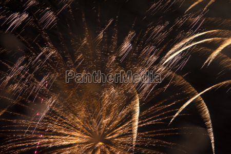 fireworks in close up at night