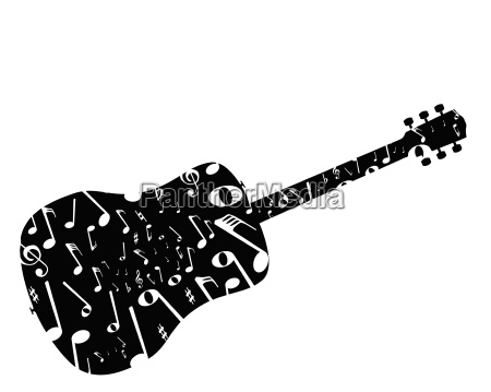 musical notes acoustic guitar