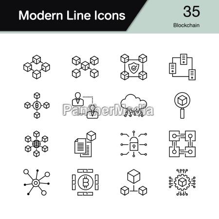 blockchain icons modern line design set