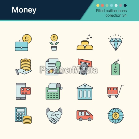 money icons filled outline design collection