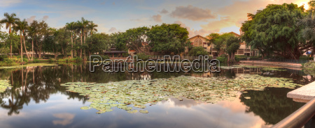 overlooking a pond at sunset at