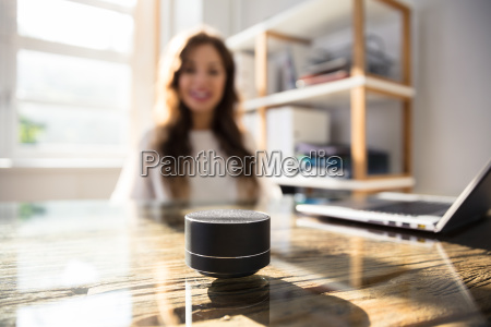 woman listening to music on wireless