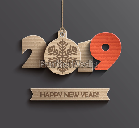 modern happy new year 2019 paper