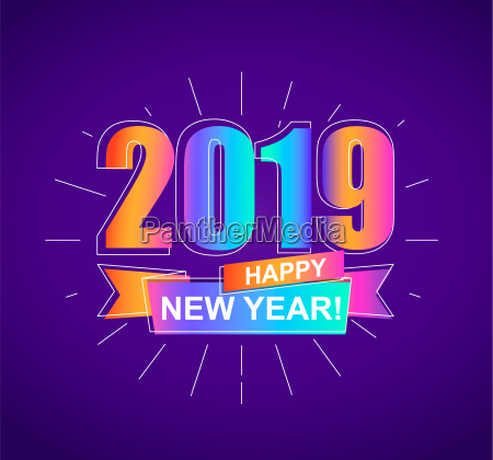 2019 happy new year colorful card