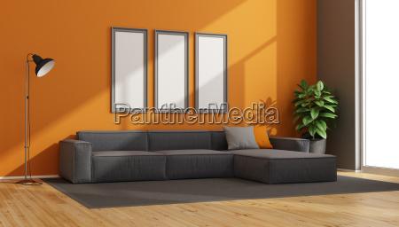 gray and orange modern living room