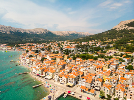 aerial panoramic view of baska town