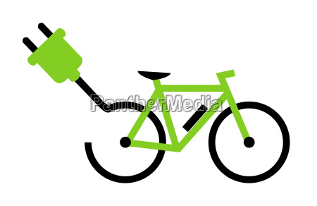 green e bike symbol with plug