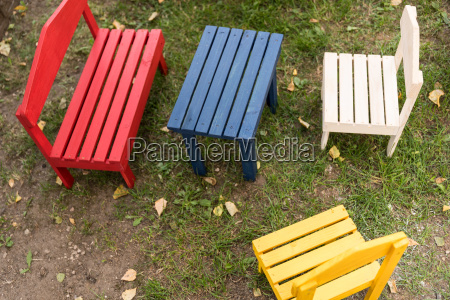 colorful children furniture made of wood