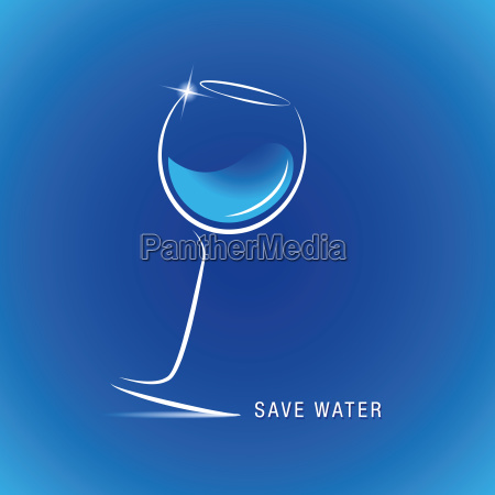 save fresh blue water in glass