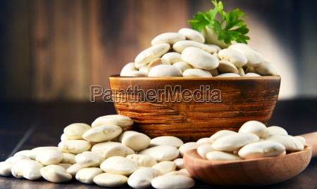 composition with bowl of white beans