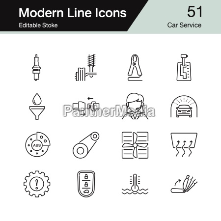 car service icons modern line design