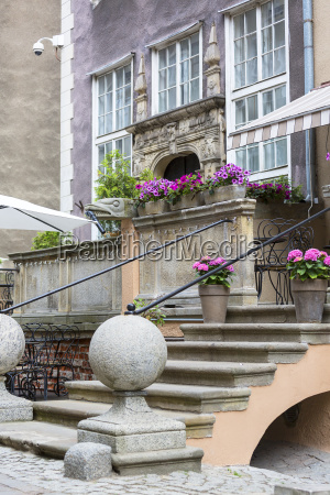 mariacka street typical decorative stoop with