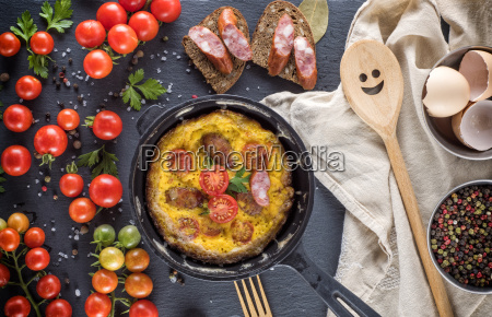 omelette from chicken eggs in a
