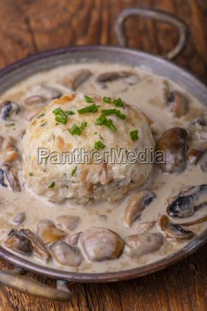 bavarian bread dumplings with a mushroom
