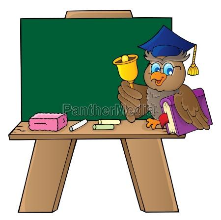 schoolboard with owl teacher