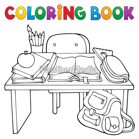 coloring book school desk theme 1