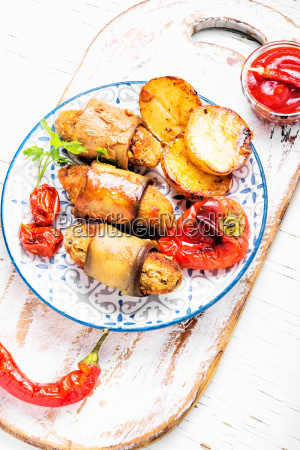 eggplant rolls with meat
