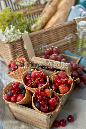 fresh red berries in ice cream