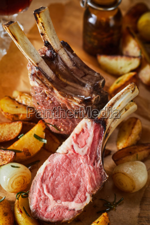 tender barbecued rack of lamb with