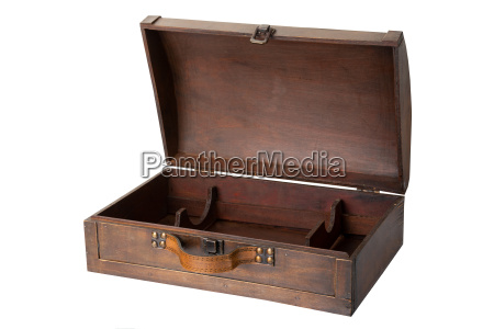 opened old wooden chest with a