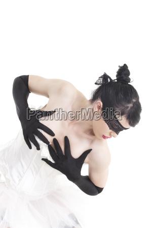ballet dancer with hand gloves on