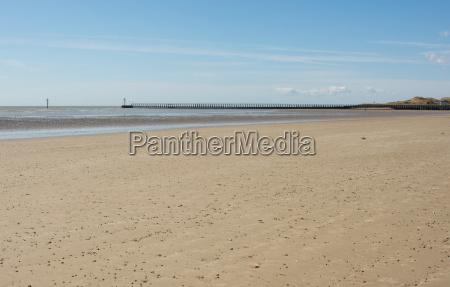 deserted sandy beach at littlehampton sussex