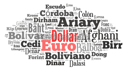 wordcloud illustration of currencies of the