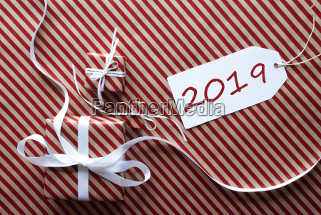 two gifts with label text 2019