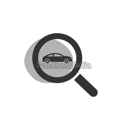 magnifying glass looking for a car