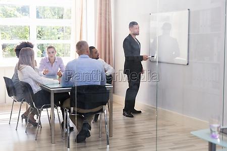 businessman giving presentation to his executives