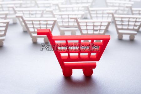 close up of red shopping cart