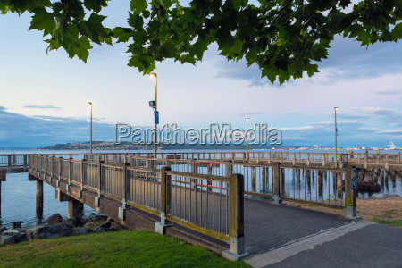 fishing pier along waterfront in tacoma