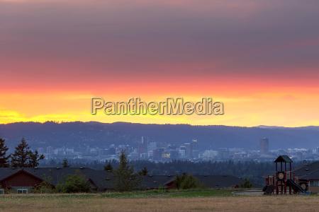 portland skyline from altamont park at