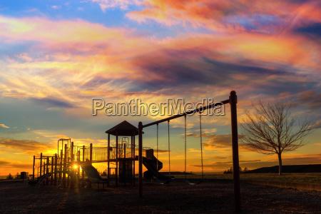 children playground at sunset