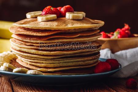 pancake stack with strawberry and banana