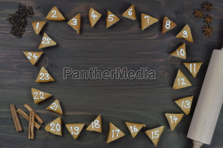 frame of 25 numbered advent cookies