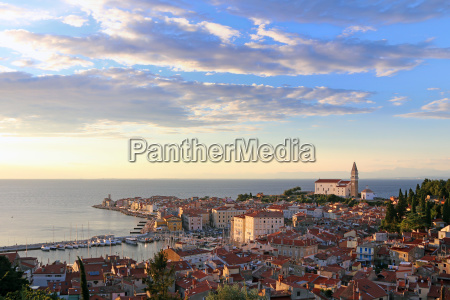 city of piran in slovenia with