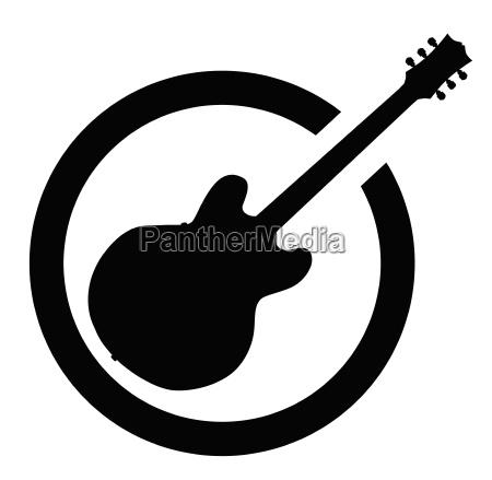 black ink stamp semi guitar
