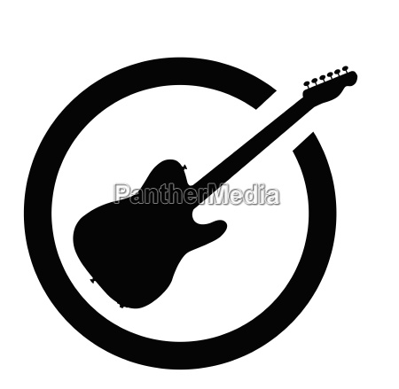 guitar black ink stamp