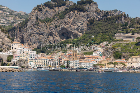 amalfi seen from the sea on