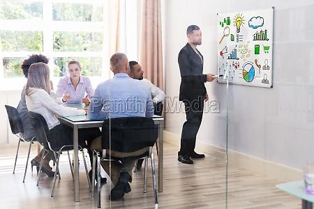 businessman giving digital marketing presentation