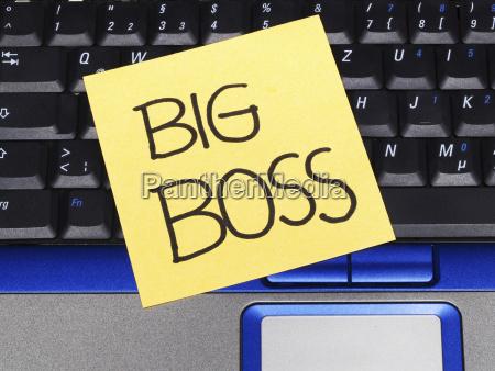memo note on notebook big boss