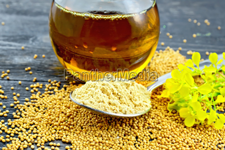 mustard powder in spoon with oil