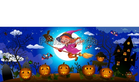 halloween cute witch on a broom